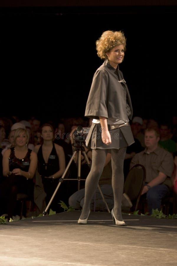 Fashion model on a catwalk royalty free stock photos