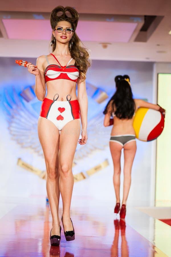 Fashion model on catwalk royalty free stock images