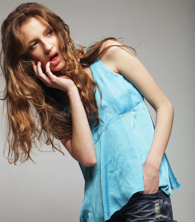 Fashion Model With Curly Hair Royalty Free Stock Photography