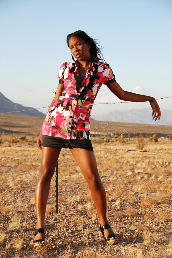Download Fashion model in desert. stock photo. Image of heat, sunny - 7825966