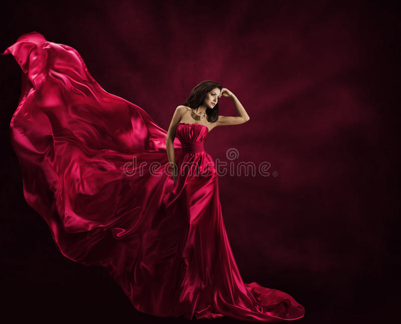 Fashion Model Dress, Woman in Flying Gown, Waving Silk Fabric. Fashion Model Dress, Woman in Flying Gown, Silk Fabric Waving on Wind, Satin Cloth Flowing Waves stock photography