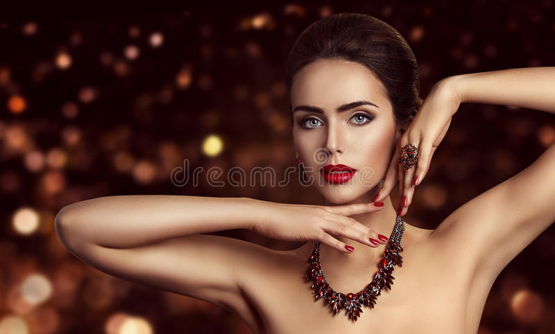 Fashion Model Face Makeup, Woman Beauty Make Up Portrait. Beautiful Girl Jewelry royalty free stock images