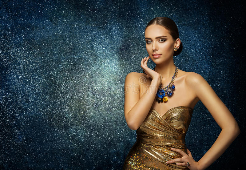Fashion Model Face Portrait, Elegant Woman in Necklace Jewelry stock images