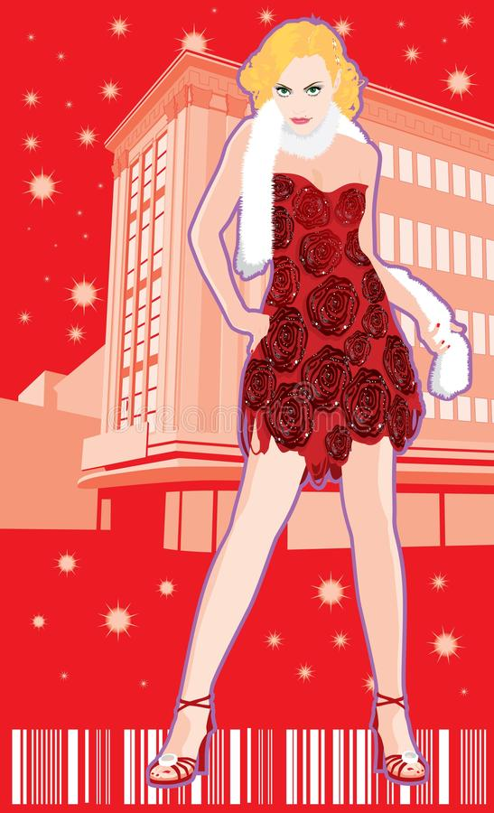 Fashion model in front of a building. Girl demonstrating fashion in front of a building royalty free illustration