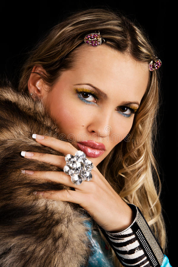 Download Fashion Model With Fur Collar Stock Image - Image of black, brown: 11837631