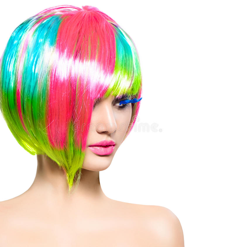 Fashion model girl with colorful dyed hair royalty free stock photography