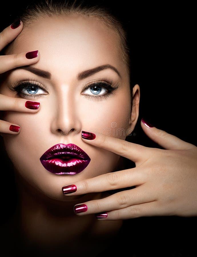 Fashion model girl face royalty free stock image