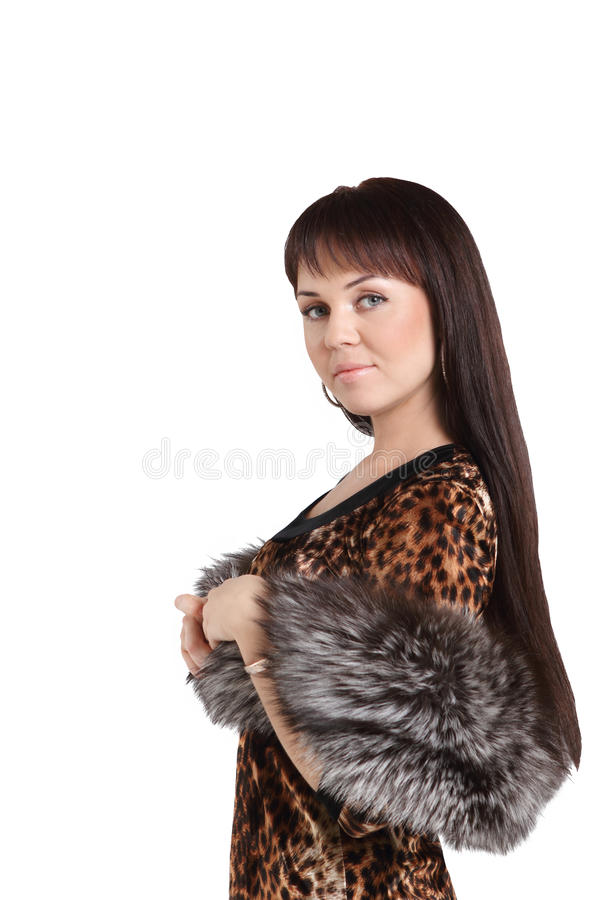 Download Fashion model girl in fur stock photo. Image of alone - 17154708