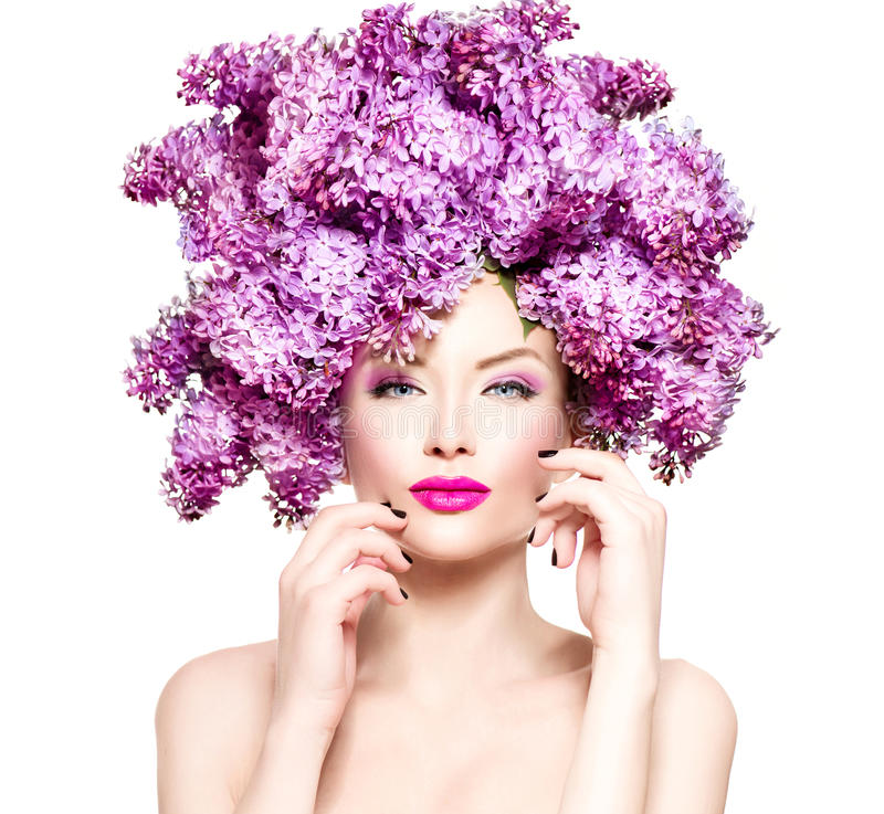 Download Fashion Model Girl With Lilac Flowers Hairstyle Stock Photo - Image of glamour, girl: 53887350