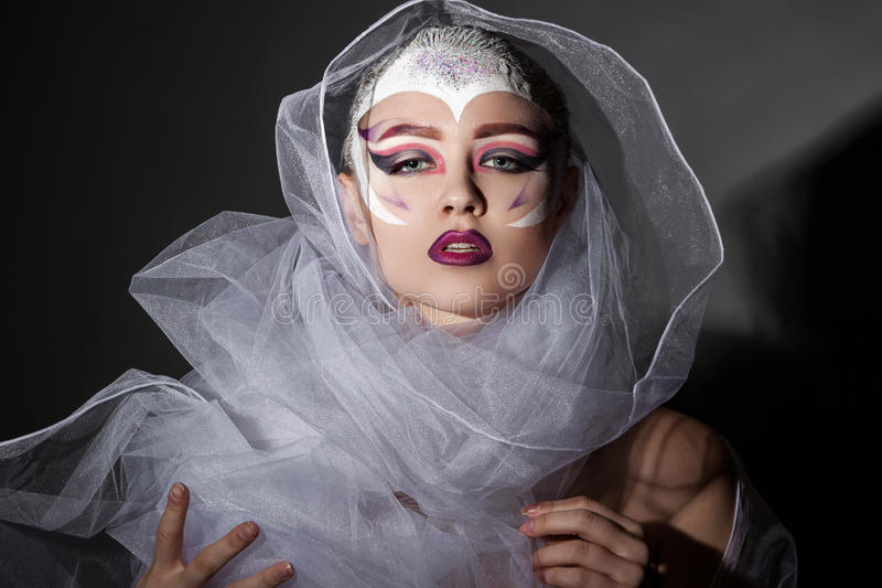 Fashion Model Girl Portrait with Bright Makeup. stock photo