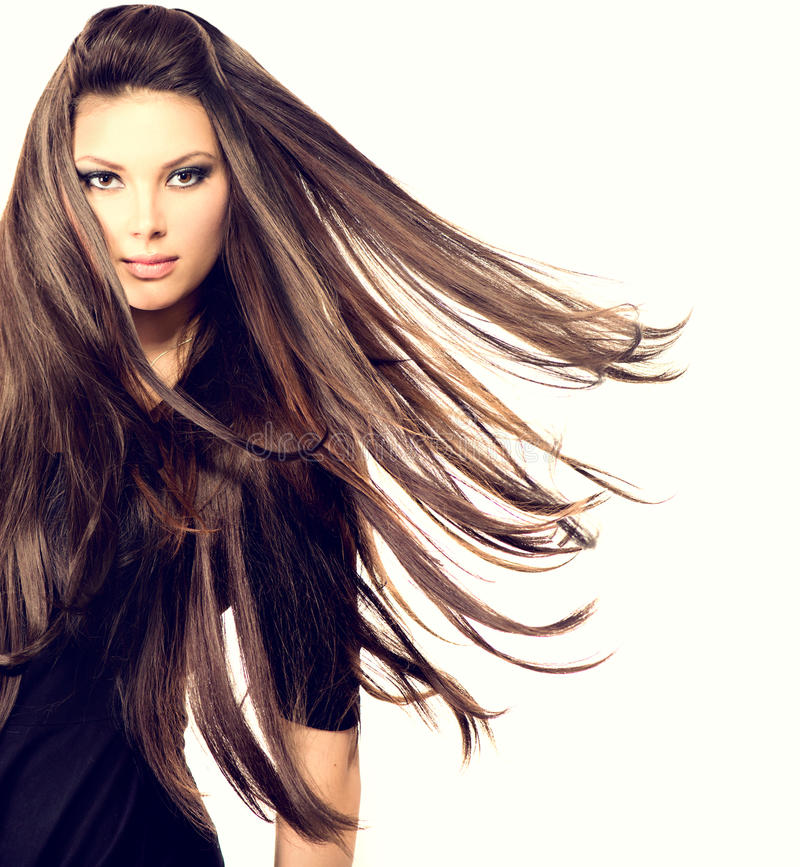 Fashion Model Girl Portrait. With Long Blowing Hair stock image