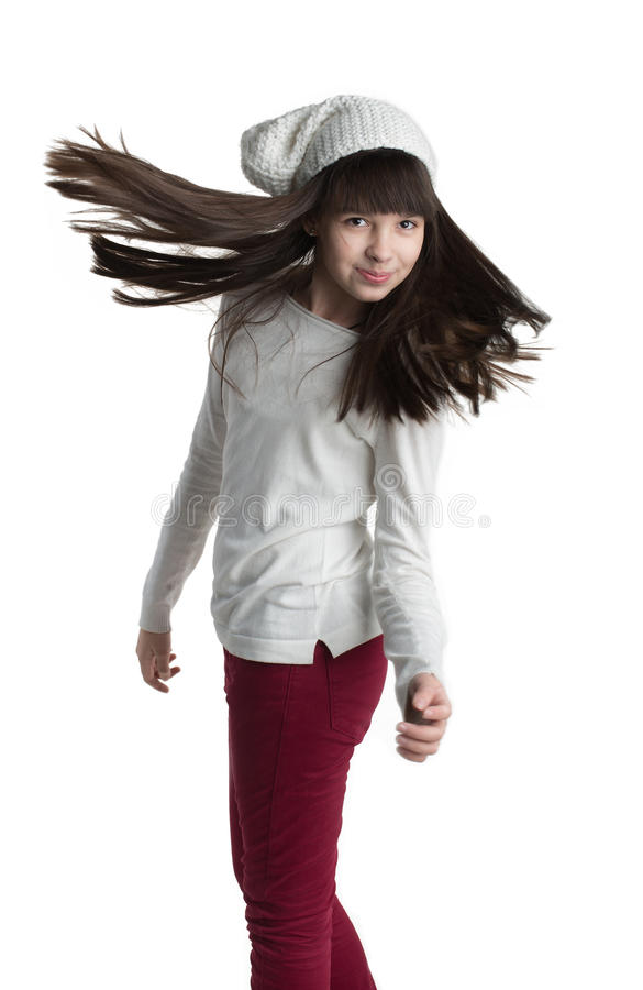 Fashion Model Girl Portrait with Long Blowing Hair stock images