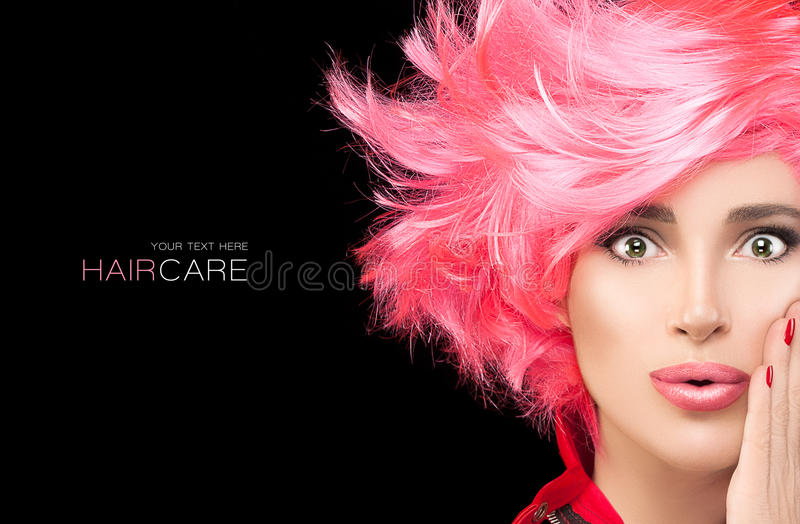 Fashion model girl with stylish dyed pink hair stock photos