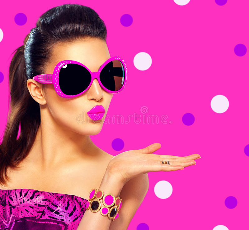 Fashion model girl wearing purple sunglasses stock photos