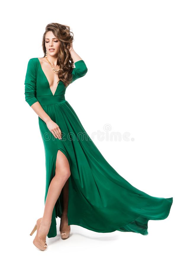 Fashion Model Green Dress, Woman Beauty Hairstyle Full Length Portrait on White, Long Fluttering Gown stock images