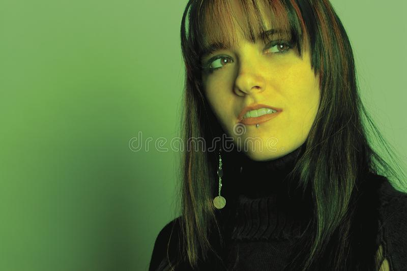 Fashion model - green hue stock photography
