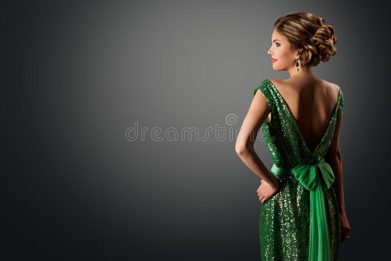 Fashion Model Green Sequin Dress, Elegant Woman in Sparkling Retro Gown, Young Girl Back Rear View royalty free stock photography
