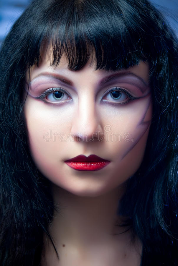 Fashion Model With Halloween Makeup royalty free stock photo