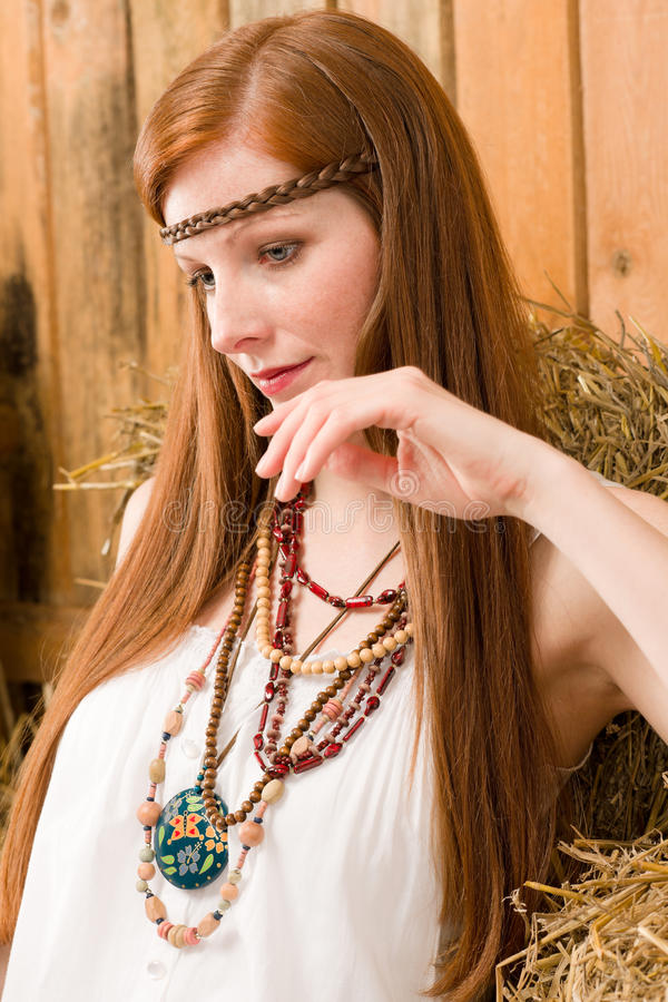Fashion model - Hippie red-hair young woman. Countryside portrait stock photos