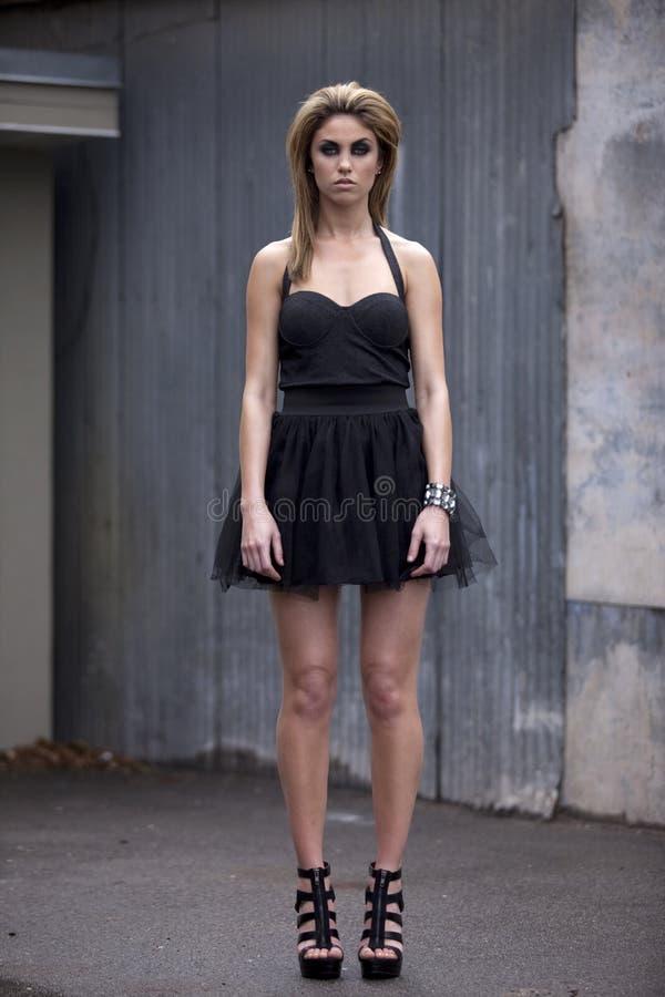 Fashion Model in Little Black Dress stock image