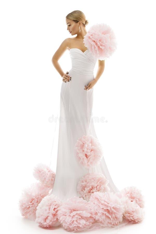 Fashion Model Long Dress Art Flowers, Elegant Woman White Gown stock image
