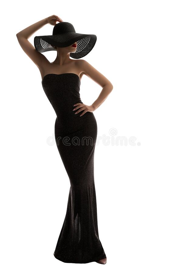Fashion Model Long Dress Summer Hat, Elegant Woman in Black Gown, Lady full length on white. Fashion Model Long Dress Summer Hat, Elegant Woman in Black Gown royalty free stock images