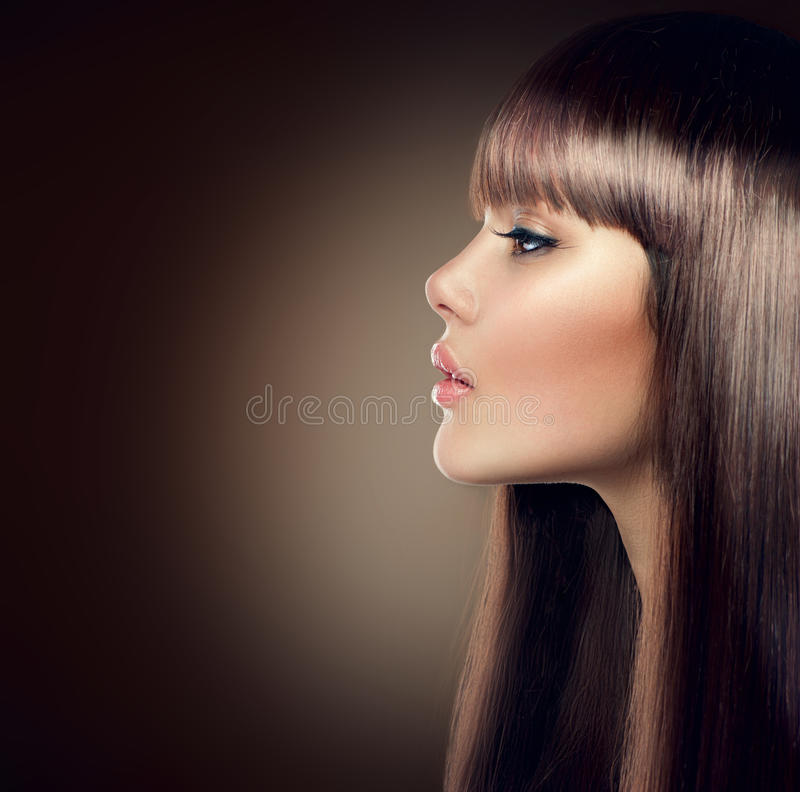 Fashion model with long and healthy brown hair. Attractive fashion model with long and healthy brown hair royalty free stock photography