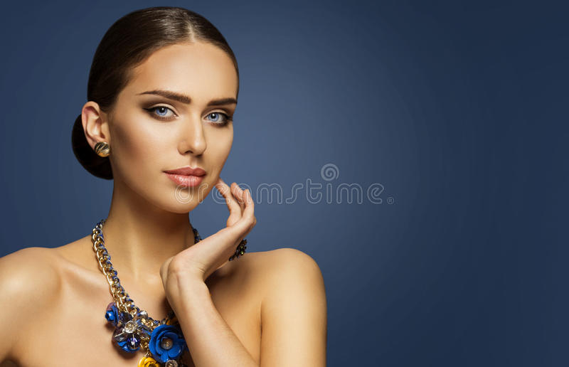 Fashion Model Makeup, Elegan Woman Beauty Face Make Up Portrait. Fashion Model Makeup, Woman Beauty Face Make Up Portrait, Elegant Lady Touching Cheek stock images