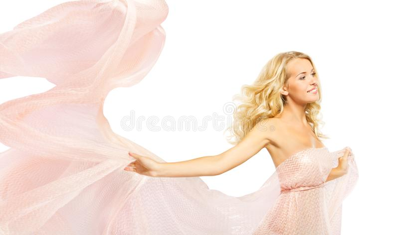 Fashion Model Pink Dress, Woman In Waving Gown Cloth, Beauty Portrait On White stock photo
