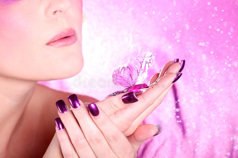 Fashion model in pink style stock photo