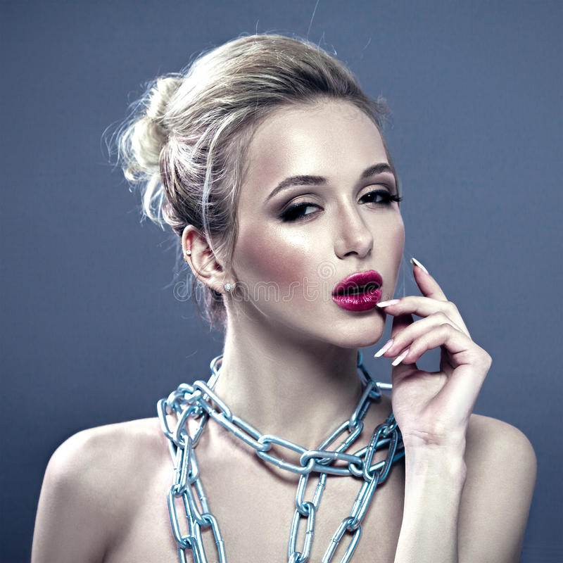 Fashion Model Portrait With Chain as Jewelry royalty free stock photography
