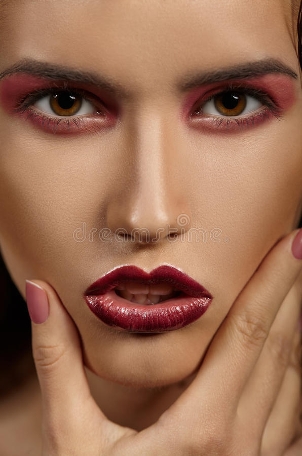 Fashion model portrait. Professional Makeup royalty free stock photos