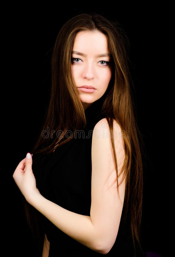 Fashion model portrait. sensual woman isolated on black. hairdresser salon. natural beauty. pretty woman with brunette. Hair. skincare cosmetics and makeup stock photos