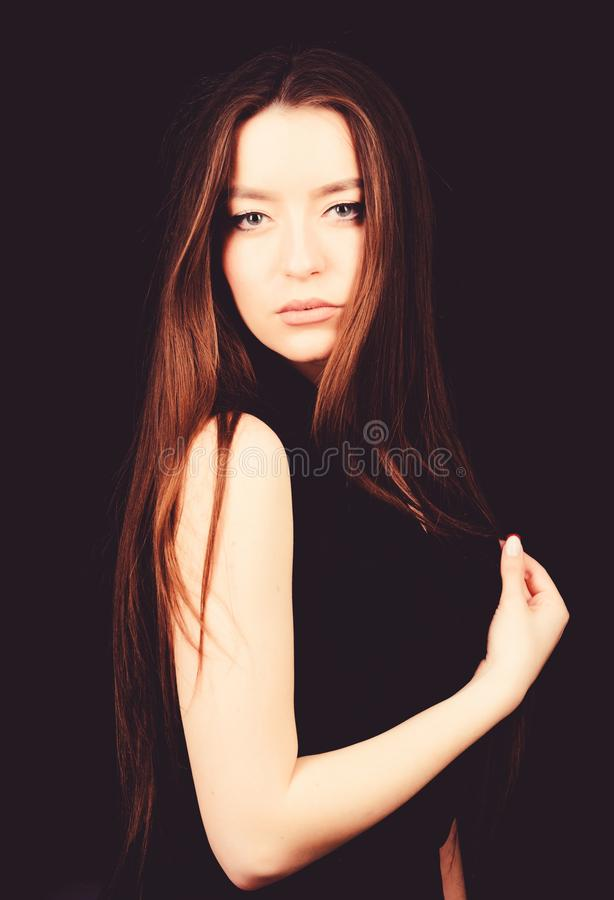Fashion model portrait. sensual woman isolated on black. hairdresser salon. natural beauty. pretty woman with brunette stock photography