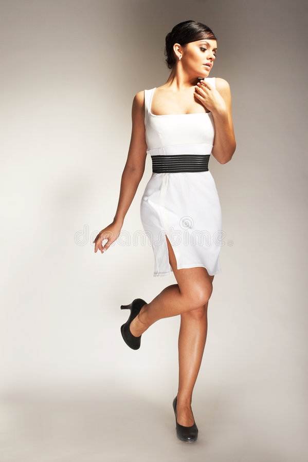 Download Fashion Model Posed In White Dress Royalty Free Stock Photos - Image: 4065268
