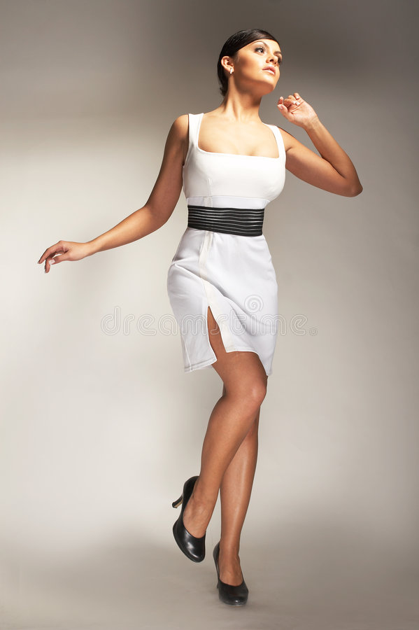 Download Fashion Model Posed In White Dress Stock Image - Image: 4065285