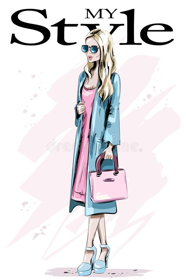 Fashion model posing. Beautiful blond hair woman with bag. Stylish woman in coat. Sketch. Vector illustration stock illustration