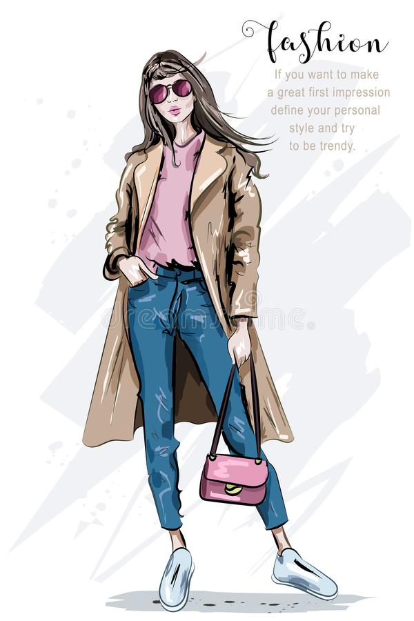 Fashion model posing. Beautiful young woman in coat. Fashion woman with bag. Hand drawn girl in sunglasses. Sketch. Vector illustration stock illustration