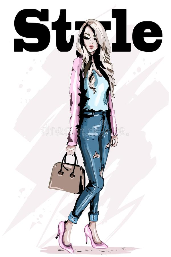 Fashion model posing. Stylish beautiful young woman with bag. Hand drawn blond hair woman. Sketch. Vector illustration stock illustration