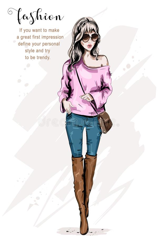 Fashion model posing. Stylish beautiful young woman in fashion clothes. Fashion look. Cute girl in sunglasses. royalty free illustration
