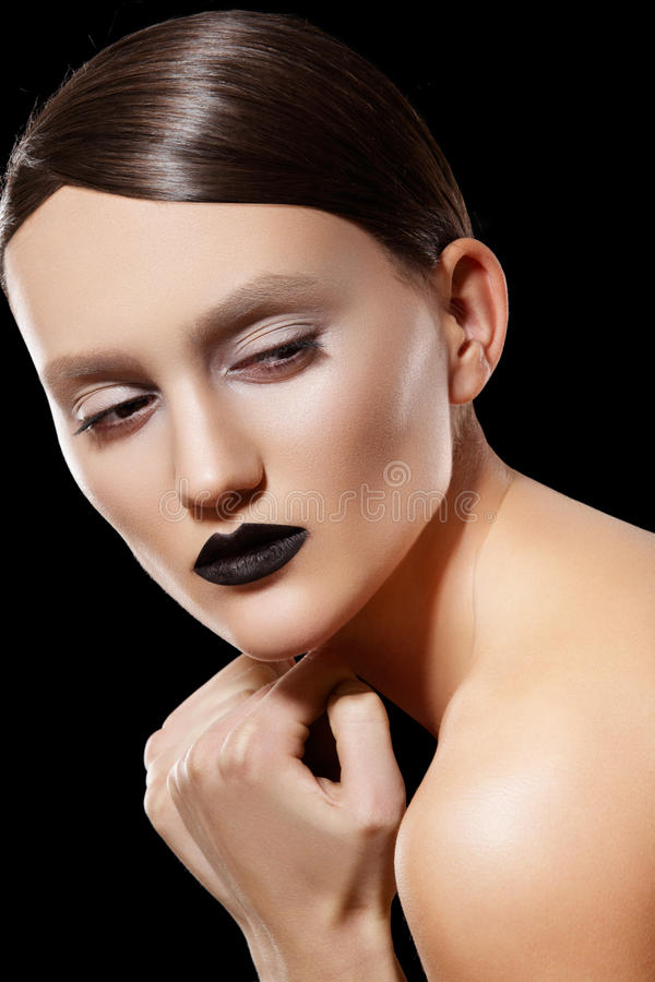 Fashion Model. Shiny Hair, Make-up, Black Lips Stock Photos