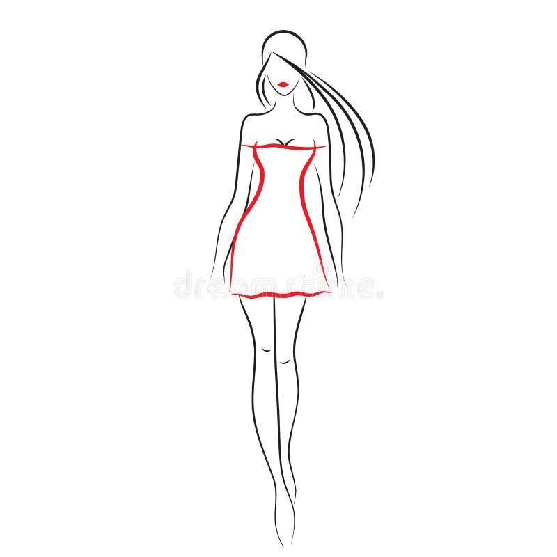 Fashion model stock vector. Illustration of drawing, black ...