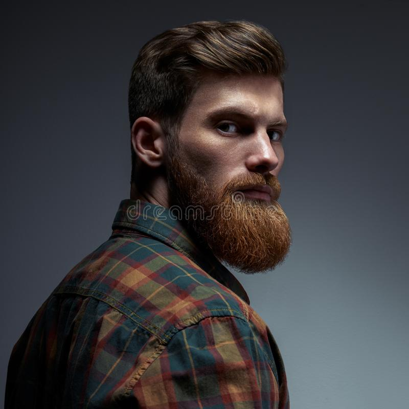 Portrait of a man with beard and modern hairstyle royalty free stock photo