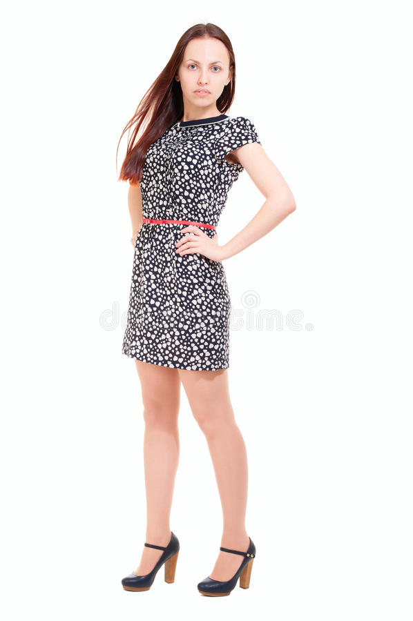Fashion Model In Summer Dress And High Heel Shoes Royalty ...
