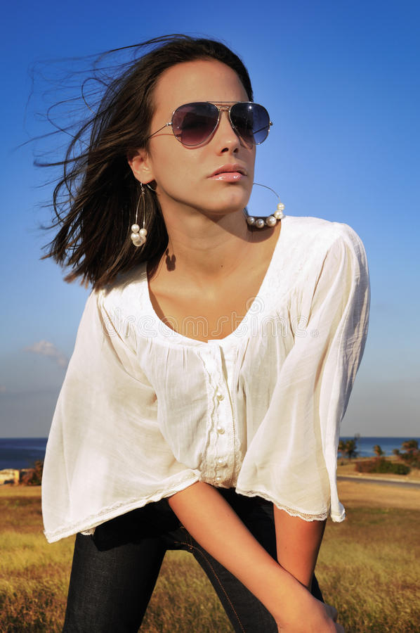 Fashion model on sunglasses stock image