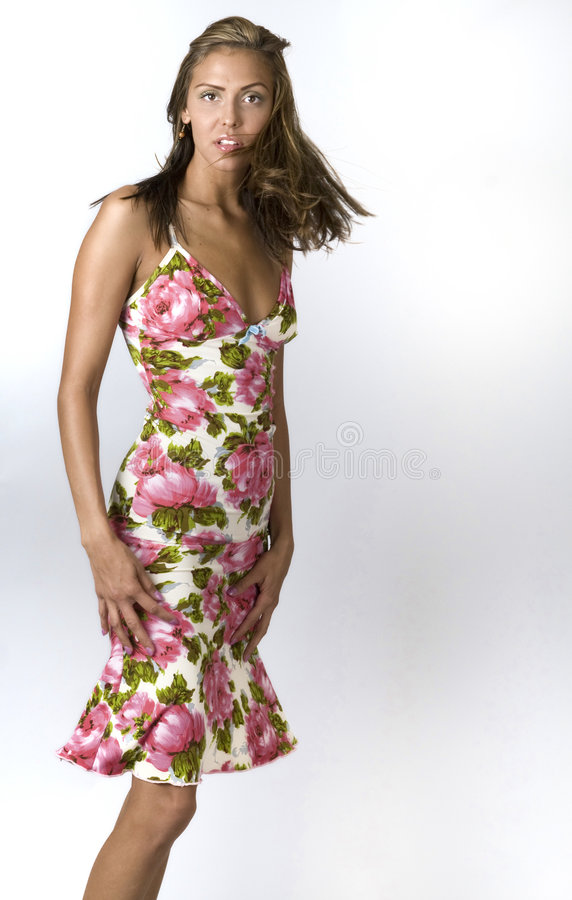 Fashion model wearing summer dress royalty free stock images
