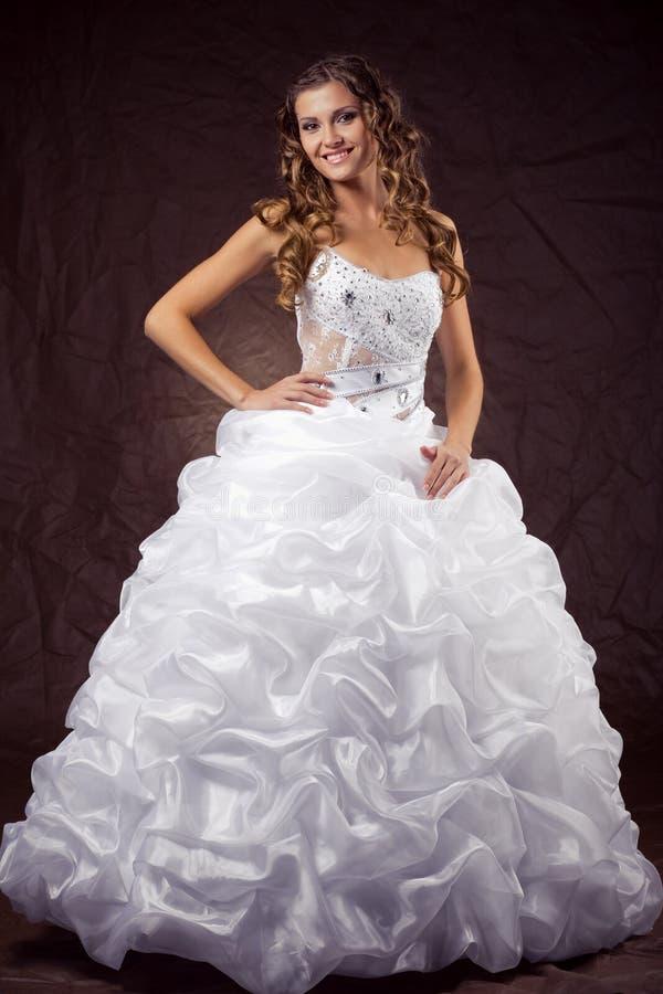 Fashion model wearing wedding dress royalty free stock image