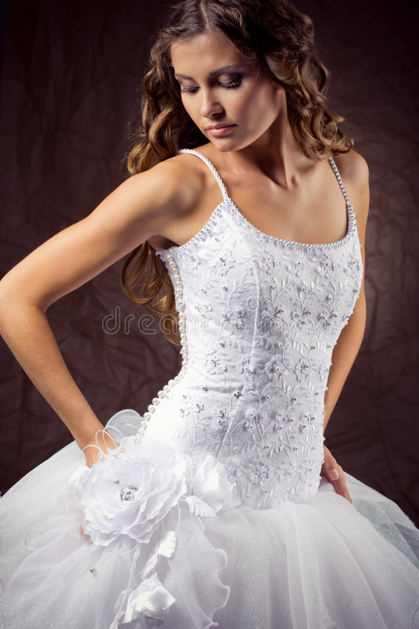 Fashion model wearing wedding dress royalty free stock photo