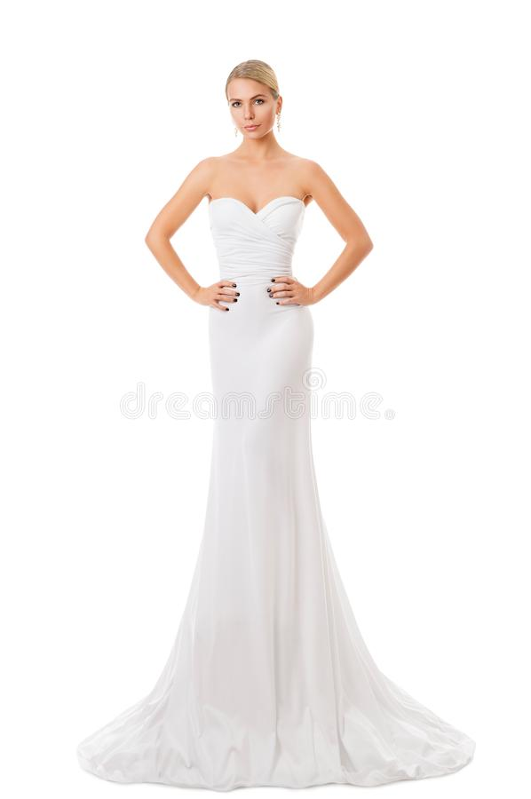 Fashion Model White Dress, Elegant Woman in Long Gown, Young Girl Beauty Portrait royalty free stock photography