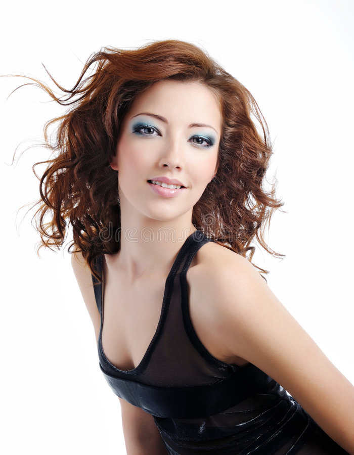 Download Fashion Model Woman With Blown Hairs Stock Image - Image: 8297549